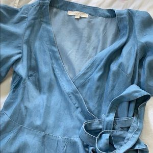 Chambray wrap-front top